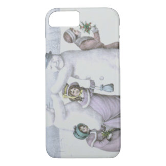 Snowman Children Playing Snow Field iPhone 7 Case