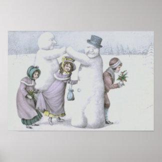 Snowman Children Playing Snow Field Poster
