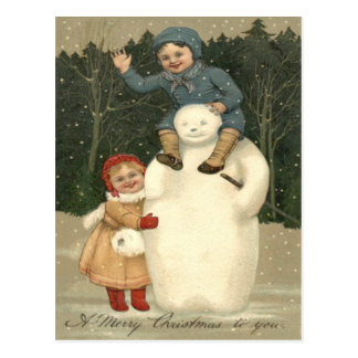 Snowman Children Playing Snowfall Snow Postcard