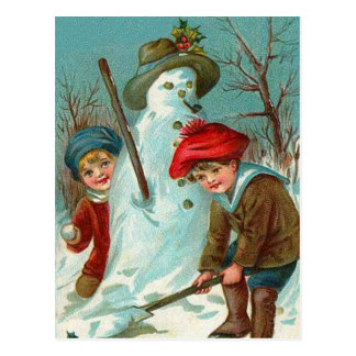 Snowman Children Snow Holly Postcard