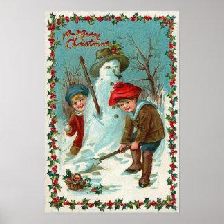 Snowman Children Snow Holly Poster