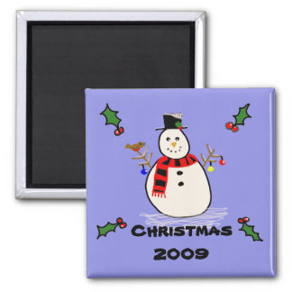 snowman, Christmas 2009 2 Inch Square Magnet