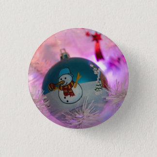 Snowman - christmas balls - merry christmas pinback button