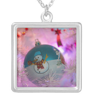 Snowman - christmas balls - merry christmas silver plated necklace