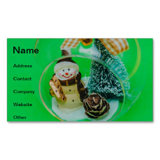 Snowman Christmas bauble Business Card Magnet