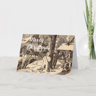 Snowman Christmas card card
