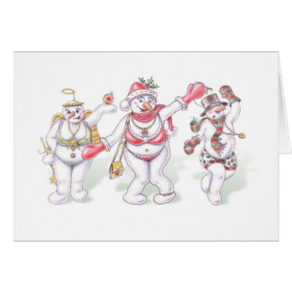 Snowman Christmas Card with Dancing Snowpeople