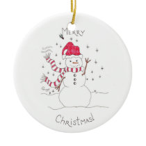 Snowman Christmas Ceramic Ornament
