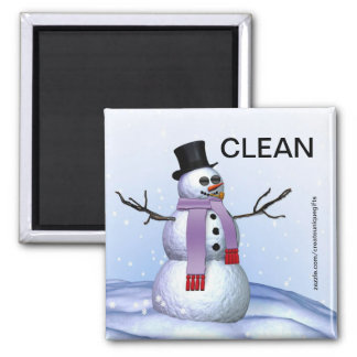 Snowman Christmas Clean Dirty Dishwasher Magnet