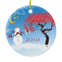 Snowman Christmas Couples Photo Ornament