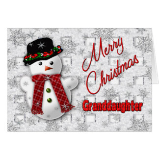 Snowman Christmas Greeting - Granddaughter Card