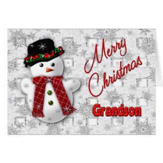 Snowman Christmas Greeting - Grandson Greeting Card