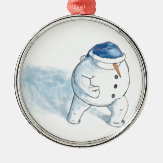 Snowman Christmas Greeting Metal Ornament