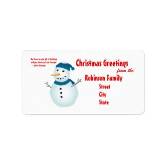 Snowman, Christmas Greetings +Quote Label