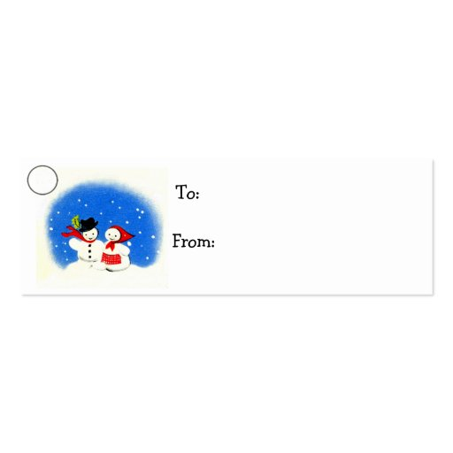 Snowman Christmas Holiday Gift Tag Business Card Template