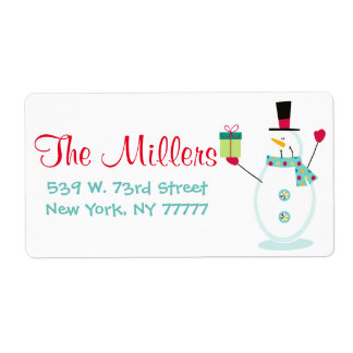 Snowman Christmas Holiday Return Address Labels
