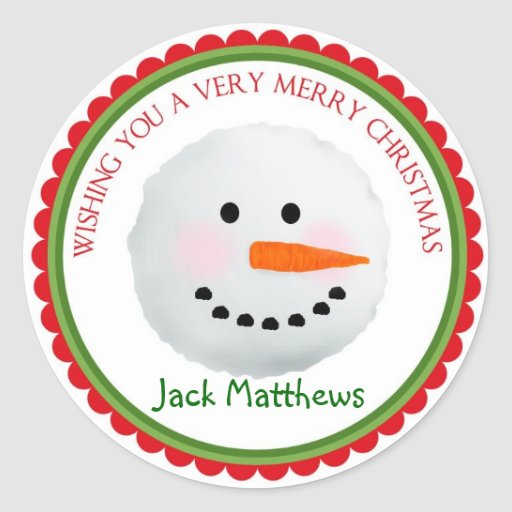Snowman Christmas Holiday Stickers