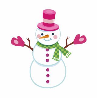 Snowman Christmas Magnet Pink Photo Cut Outs