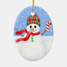 Snowman Christmas Ornament With Candy Cane at Zazzle