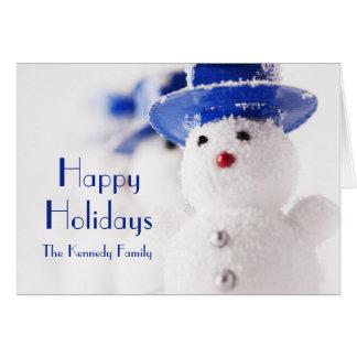 Snowman Christmas ornaments on ice Card