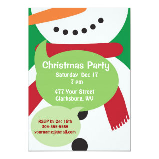 Snowman Christmas Party Card at Zazzle