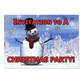Snowman Christmas party invitation