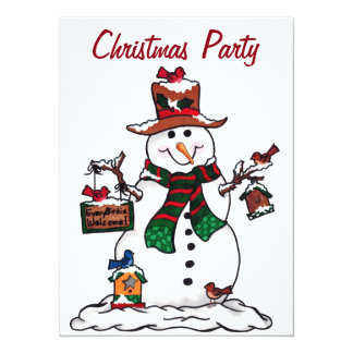 Snowman Christmas Party - Invitation