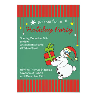 Snowman Christmas Party Invitations,Holiday Party Card