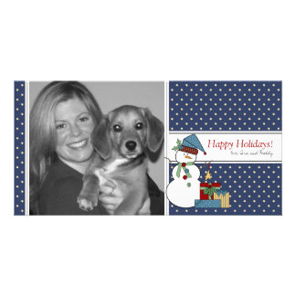 Snowman Christmas Photo Card {blue}