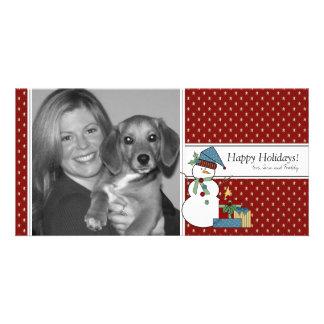 Snowman Christmas Photo Card {red}