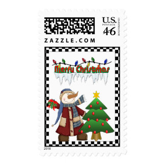 Snowman Christmas Postage Stamps