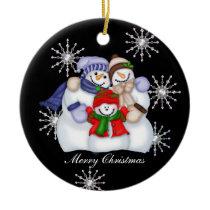 Snowman Christmas Snowflakes Ceramic Ornament