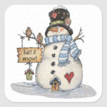 """Snowman Christmas Square Sticker<br><div class=""""desc"""">Merry Christmas to you and your family from me and my family</div>"""