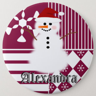 Snowman Christmas Stocking Name Tag Buttons