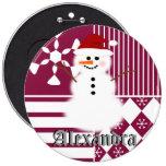 Snowman Christmas Stocking Name Tag Buttons
