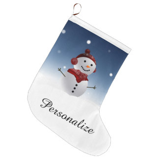 Snowman Christmas Stocking - Personalized Name Large Christmas Stocking