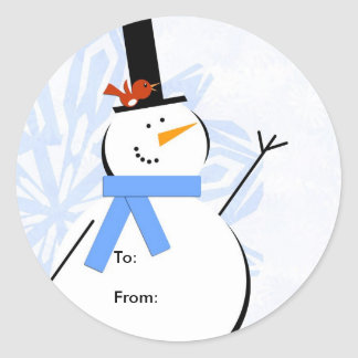 Snowman Christmas Tag, To: From: Classic Round Sticker