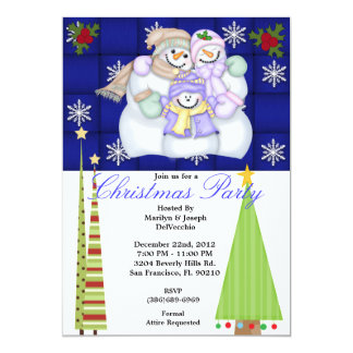 Snowman Christmas Tree Party Holiday Invite