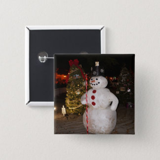 Snowman & Christmas Tree Pinback Button