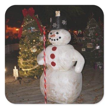 Beach Themed Snowman & Christmas Tree Stickers