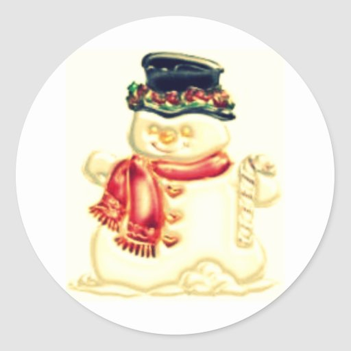 snowman classic round sticker