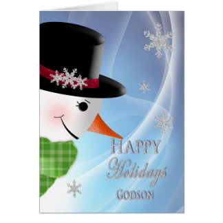 Snowman Close-up - Christmas -Godson Greeting Card