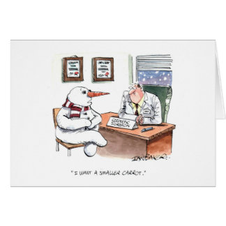 Snowman consults plastic surgeon card