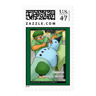 Snowman Cosmetic Surgery Real US Postage Stamps