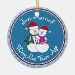 Snowman Couple Anniversary Gifts 35th-Christmas Christmas Tree Ornament
