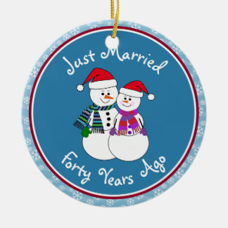 Snowman Couple Anniversary Gifts 40th-Christmas Ornament