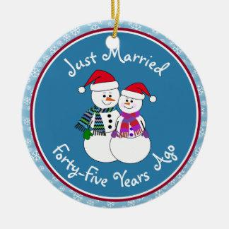 Snowman Couple Anniversary Gifts 45th-Christmas Christmas Tree Ornament