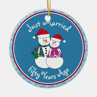 Snowman Couple Anniversary Gifts 50th-Christmas Christmas Tree Ornaments