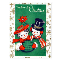 Snowman couple decorated with snowflakes, vintage postcard