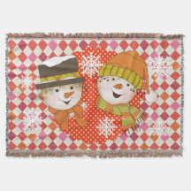 Snowman Couple Dots and Argyle Holiday Throw